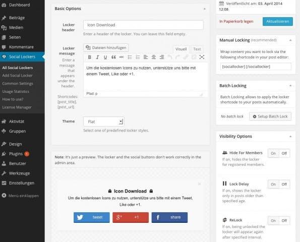 Ausreichend Möglichkeiten zur Individualisierung für Social Locker. (Screenshot: eigene WordPress-Installation)