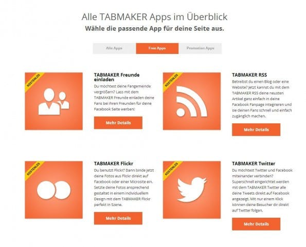 Alles auf Deutsch: Die Tabmaker-Apps von 247GRAD. (Screenshot: 247GRAD)