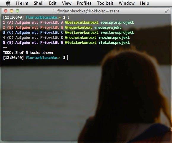 Ein Beispiel für die Darstellung verschiedener Prioritäten, Kontexte und Projekte mit Todo.txt. (Screenshot: t3n)