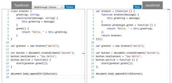 Ein kleines Beispiel für den Einsatz von Klassen in TypeScript, und wie es dann kompiliert in JavaScript aussieht. (Screenshot: typescriptlang.org)