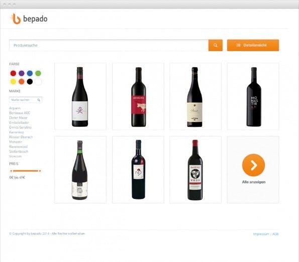 Bepado setzt auf eine bildorientierte Suche, die beispielsweise auch Filter für eine Produktsuche nach Farben bietet. (Bild: Bepado)