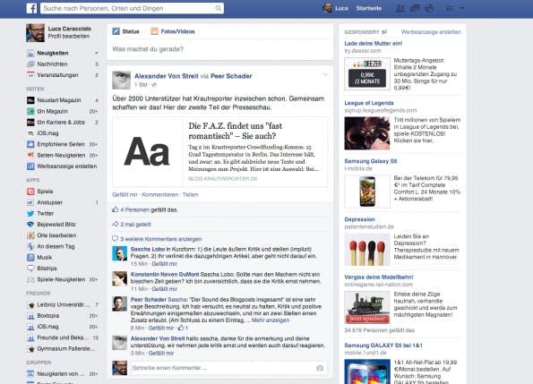 Facebook und ein bisschen Twitter: Das Netz ist einfach  zu blau.