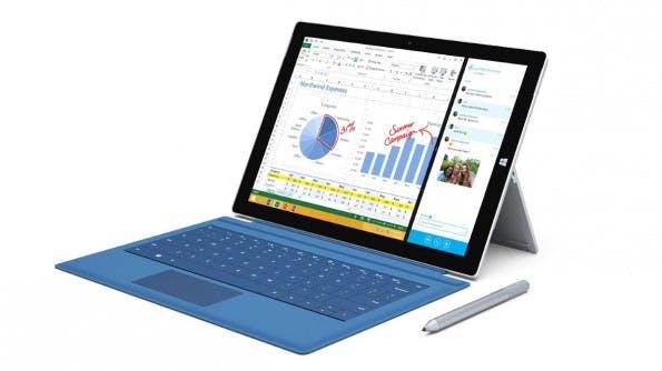 Das Surface Pro 3 sieht ähnlich aus wie seine Vorgänger ist aber deutlich größer geworden – dafür auch dünner und leichter. (Quelle: Microsoft)
