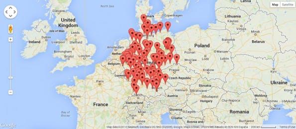 Alle Hackerspaces in Deutschland auf einen Blick. (Screenshot: hackerspaces.org / Google Maps)