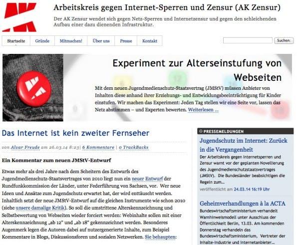 Zur Website des AK Zensur. (Screenshot: AK Zensur)