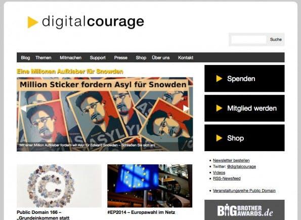 Zur Website von digitalcourage. (Screenshot: digitalcourage)