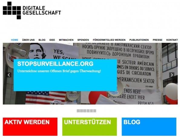 Zur Website von Digitale Gesellschaft. (Screenshot: Digitale Gesellschaft)