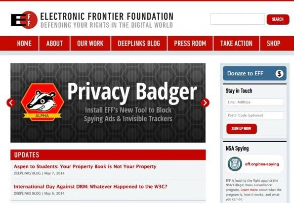 Zur Website der Electronic Frontier Foundation. (Screenshot: eff.org)