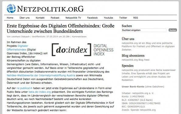 Zur Website von Netzpolitik.org. (Screenshot: Netzpolitik.org)