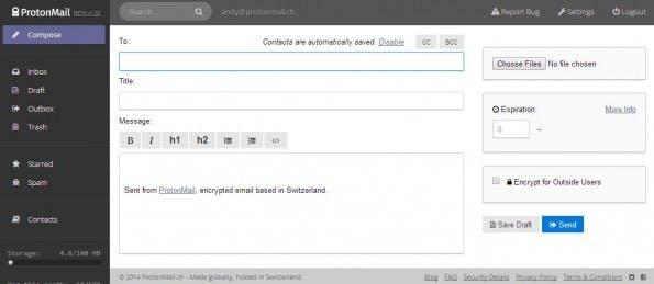 Verschlüsselte E-Mails: ProtonMail soll nicht schwieriger in der Handhabung sein als Gmail. (Screenshot: ProtonMail)