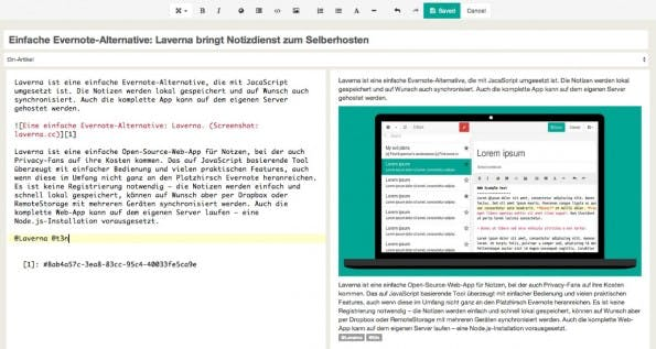 Laverna kommt mit einem übersichtlichen Editor-Fenster und zeigt auf Wunsch direkt eine Vorschau des Geschriebenen an. (Screenshot: Laverna)