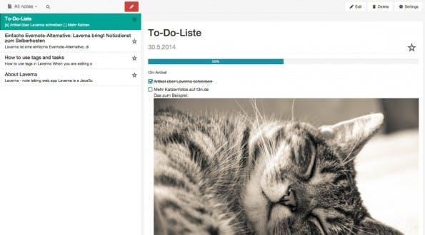Die Evernote-Alternative Laverna ermöglicht es, Notizen auch einfach als To-Do-Liste zu nutzen. In der Notizansicht lassen sich Punkte dann direkt abhaken. (Screenshot: Laverna)