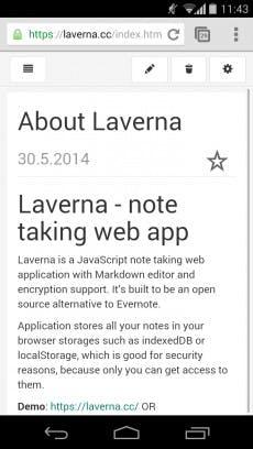 Auch auf Smartphones und Tablets ist das Design von Laverna optimiert. (Screenshot: Laverna)