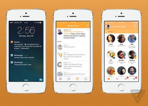 Das ist die neue App von Foursquare: Swarm soll sich darum kümmern, das Nutzer ihre Freunde mithilfe von Foursquare-Daten finden. (Bild: TheVerge)