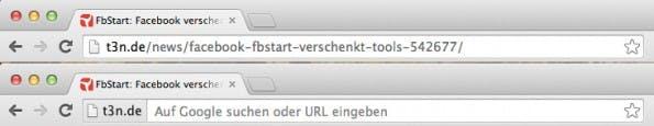 """Google Chrome blendet in der neusten Version die aktuelle URL standardmäßig aus, und zeigt nur noch den """"Origin Chip"""" an. (Screenshot: t3n)"""