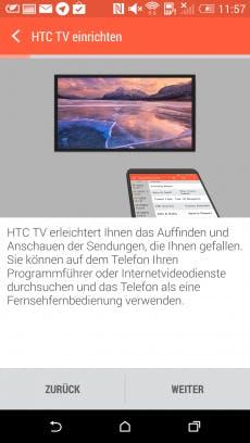 """Kein Problem: Mit der App """"TV"""" lässt sich das HTC One M8 kinderleicht als Fernbedienung für den Fernseher einrichten.(Screenshot: HTC One M8)"""