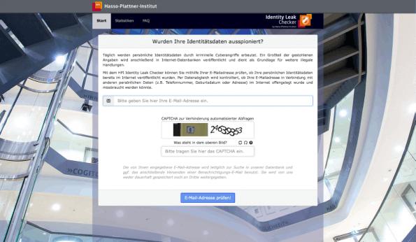Das ist der neue von Forschern des Hasso-Plattner-Instituts entwickelte Sofort-Check: Er prüft, ob und wenn ja, welche Daten Cyberkriminellen bekannt sind. (Screenshot: t3n)