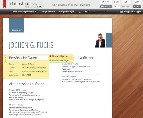 screenshot lebenslaufcom - Bild In Lebenslauf Einfugen