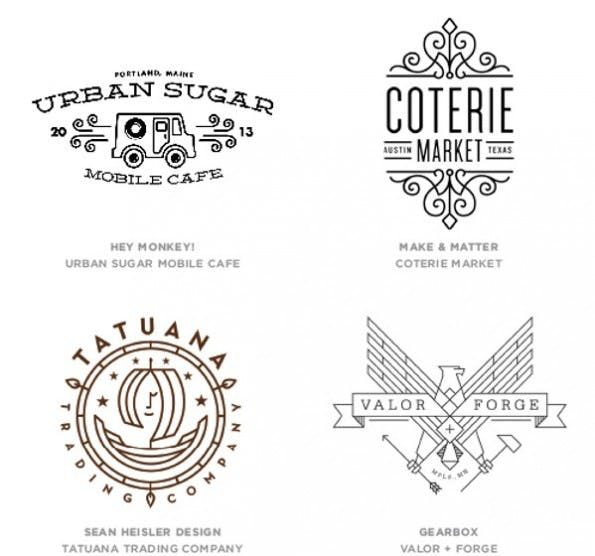 Mono Crest: Logos in diesem Design sollen wir laut Bill Gardner 2014 häufiger sehen. (Grafik: Billd Gardner / Logolounge.com)