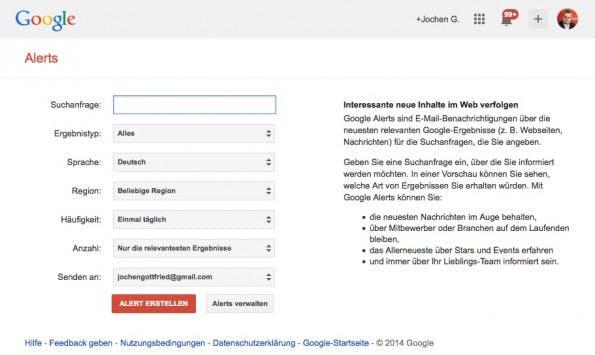 Mit Diensten wie Google Alert lassen sich kleine Aufgaben zur Wettbewerbsbeobachtung automatisieren.  (Screenshot: Google)