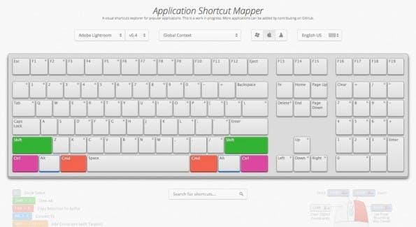 Die interaktive Web-App ShortcutMapper zeigt Photoshop-Shortcuts und Kurzbefehle für Lightroom und Blender. (Bild: ShorcutMapper)