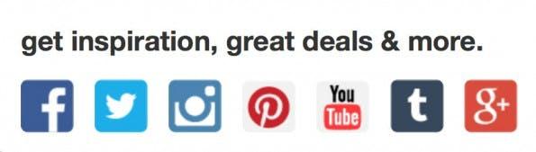 Viele Shops weisen durch Buttons auf ihre Profile im Netz hin. Dabei ließe sich aus dem Content bei Pinterest mehr machen. (Screenshot: Target)