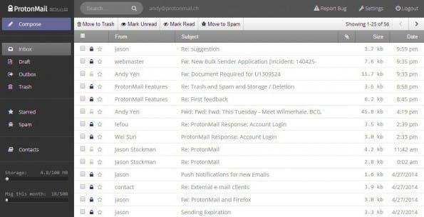 ProtonMail: E-Mails sollen mittels Ende-zu-Ende-Verschlüsselung geschützt werden. (Screenshot: ProtonMail)