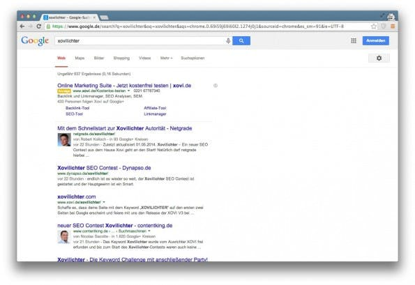 "Die aktuellen Top-Rankings zum Keyword ""Xovilichter"". (Screenshot: google.de)"