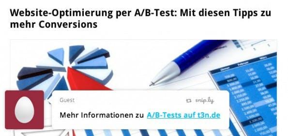 Snip.ly: Der URL-Shortener bringt euren CTA auf verlinkte Seiten. (Screenshot: t3n.de / snip.ly)