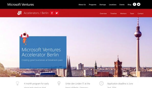 Seit letztem Jahr betreibt auch Microsoft einen eigenen Startup-Accelerator. Weder Gebühren noch Anteile verlangt der Konzern dafür. (Screenshot: t3n)