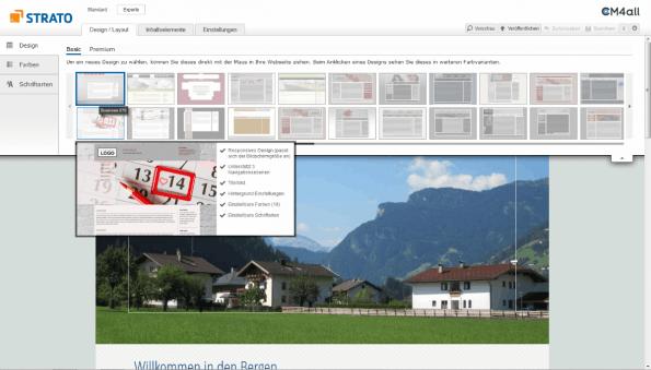 Strato Homepage Baukasten Designpicker