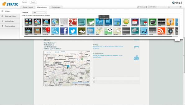 Strato Homepage Baukasten Widgets