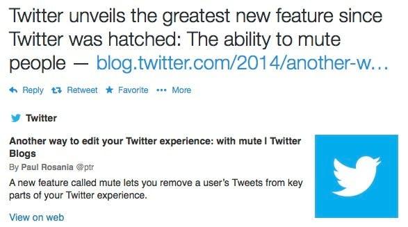"""Manch Nutzer hält die neue  """"Mute""""-Funktion für das Beste, was Twitter passieren konnte. (Screenshot: Twitter)"""