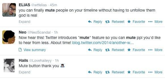 Die Möglichkeit, einzelne Nutzer in der Timeline auszublenden wird auf Twitter mehrheitlich positiv aufgenommen. (Screenshot: Twitter)