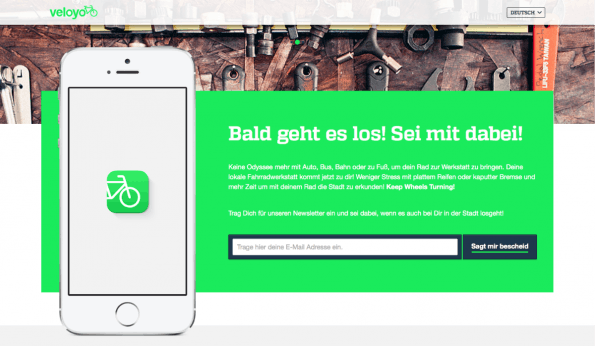 Veloyo repariert Fahrräder On-Demand. (Screenshot: t3n)