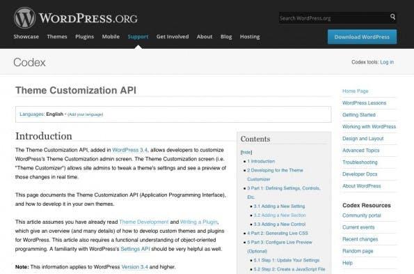 Der Theme Customizer von WordPress – detailliertere Informationen wie immer im WordPress Codex. (Screenshot: WordPress Codex)