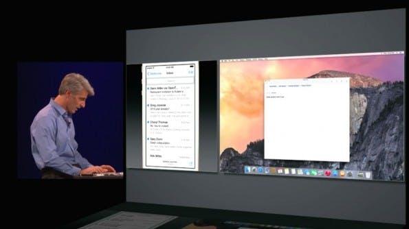 Hand Off ermöglicht es etwas auf dem iPhone zu beginnen und es dann auf dem Mac zu Ende zu bringen. (Screenshot: Apple)