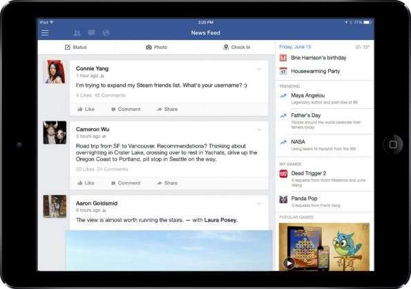 Video-Game: Neue Features für die Facebook- iPad-App (c) Facebook