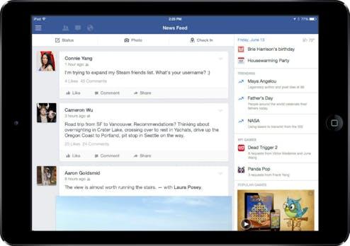 Facebook: Update für iPad-App stellt Videos und Games in den Mittelpunkt
