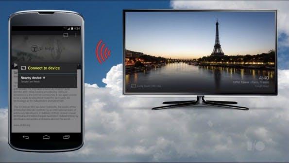 Die Kopplung zwischen Google Chromecast und einem neuen Smartphone oder Tablet erfolgt künftig mittels eines Ultraschall-Signals. (Quelle: youtube.com)