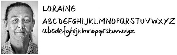 """""""Homeless Fonts""""-Projekt: Schriftart von Loraine. (Quelle: homelessfonts.org)"""