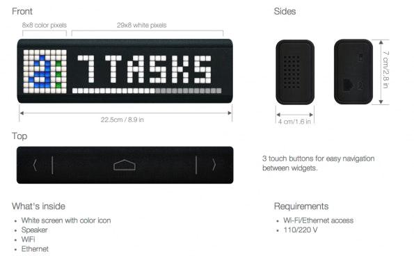 """Der Lametric """"Smart Ticker"""" verfügt über 296 LEDs. Auf der linken Seite können auch Farben dargestellt werden. (Quelle: Lametric)"""