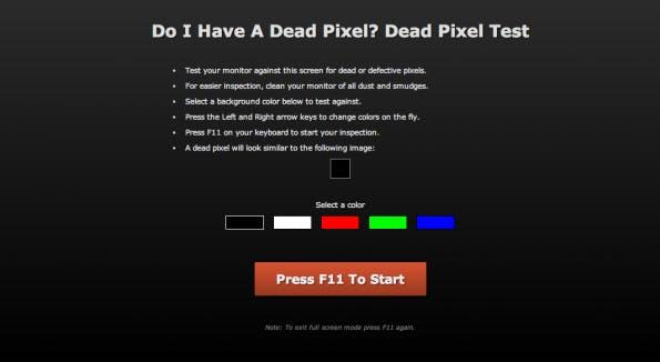 Prokrastination leicht gemacht: Do I Have A Dead Pixel? (Screenshot: doihaveadeadpixel.com)