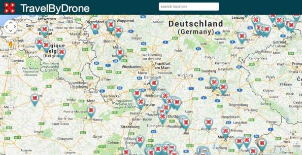 TravelByDrone: Drohnen-Videos auf interaktiver Weltkarte (Quelle: Screenshot)
