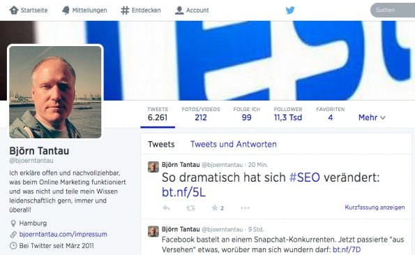 Björn Tantau über die perfekte Twitter-Biografie. (Screenshot: Twitter)