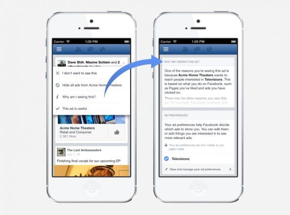 Mit dem neuen Feature namens Ad Preferences sollen Nutzer auswählen können, welche Facebook-Werbung für sie relevant ist und welche sie nicht mehr angezeigt bekommen möchten. (Bild: Facebook)