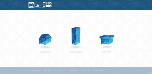 Aires & Cintra Arquitetura nutzt Polygon Design für Key Visuals und den Hintergrund. (Screenshot: Aires & Cintra Arquitetura)