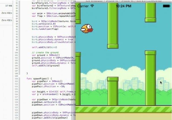 Swift-Tutorial mit Spaßgarantie: Ein Flappy-Bird-Klon mit Apples neuer Programmiersprache entwickelt. (Bild: GitHub)
