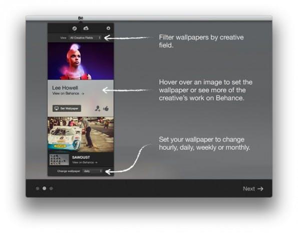 Beim ersten Start bekommt der Nutzer der Mac-App von Behance eine Einführung, die die App erklärt. (Screenshot: Behance)