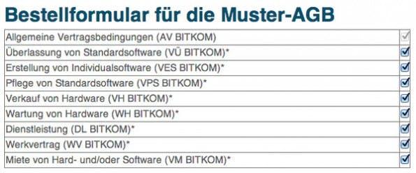 BITKOM: Der Branchenverband hat seine Muster-AGB überarbeitet. (Screenshot: BITKOM)